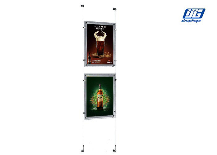 Clear PMMA Frame Crystal Light Box Stand / LED Back Lighting Art Screw Assembly Hanging Light Box